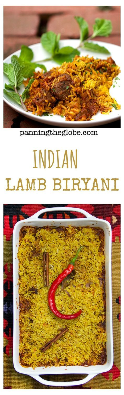 Indian Lamb Biryani: Tender lamb curry and spiced saffron-rice. Cucumber-mint raita on the side.