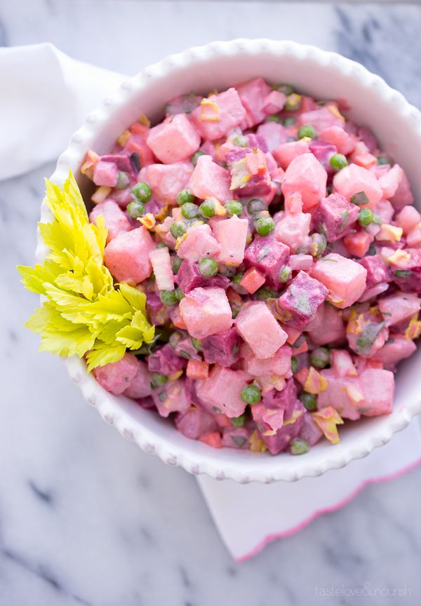 Beet and Potato Salad (Salade Russe) ***To make this vegan, use Vegenaise in place of the mayo and yogurt...from Taste Love & Nourish