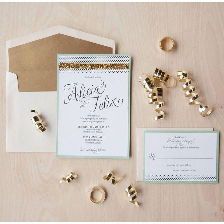Modern Glam Wedding Invitation, gold glitter invitation, mint and gold invitation, celebrate invitation. $5.60, via Etsy.