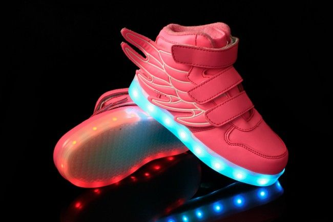 Kids Pink LED Light Up Shoes With Wings