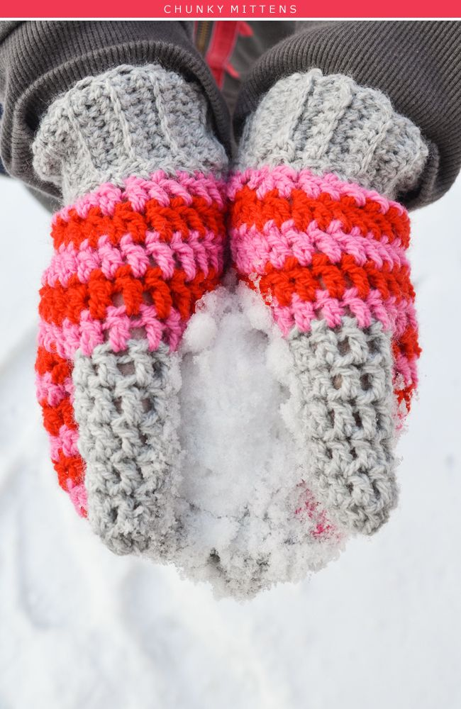 The Yvestown Shop chunky mittens - I think this in British stitching - eg. double crochet is really single crochet for US crocheters, but I am not sure. Anyway, they look easy to make.