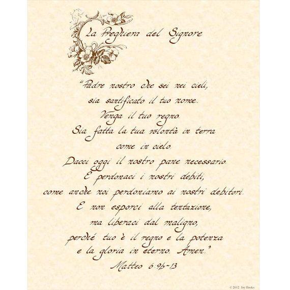 La PREGHIERA Del SIGNORE MATTEO 6:9b-13  --- 11 X 14 Italiano Hand Written Calligraphy Art Print on Parchment (in Italian) on Etsy, $16.00