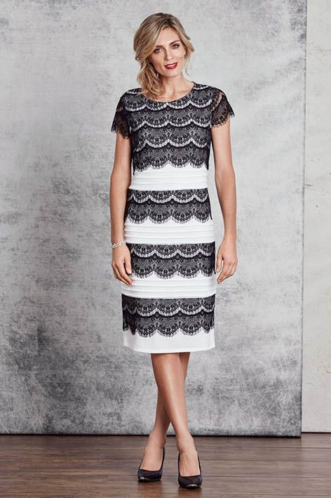 A gorgeous piece, bursting with feminine flair! This midi-length dress features lace layered detailing in panels and gorgeous bandage type throughout. The gorgeous lace sleeves allow you to showcase the elegant lace detailing and add a touch of charm to the dress. Create a statement with outstanding jewels and stunning shoes.