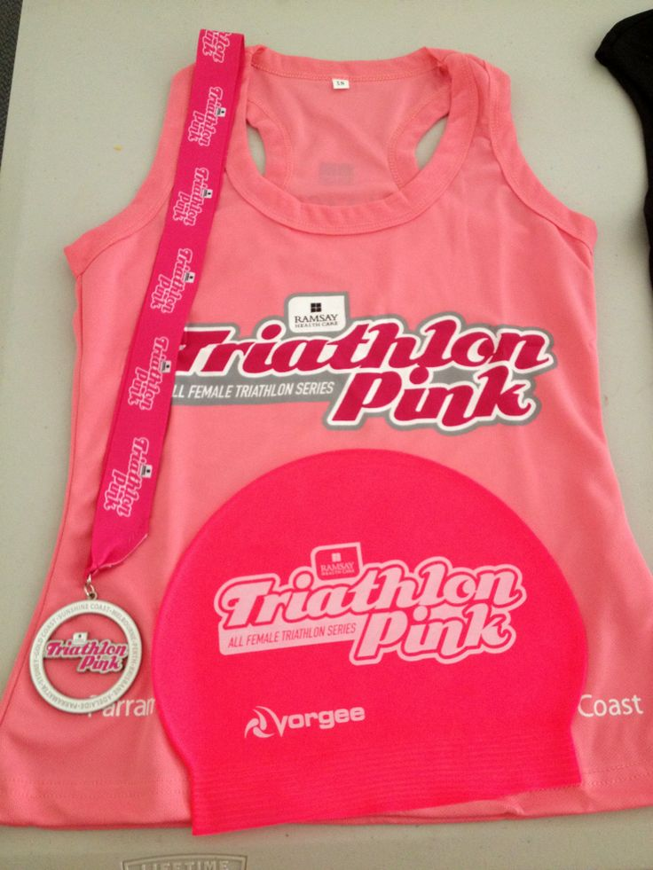 All participants receive a free singlet, swim cap and finisher's medal with entry! These are our freebies from 2013-2014. #teampinkie #tripink