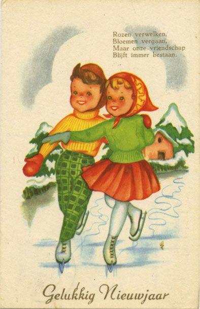 Vintage greetings cards - Happy New Year - Gelukkig Nieuwjaar - Rozen verwelken, bloemen vergaan. Maar onze vriendschap blijft immer bestaan.