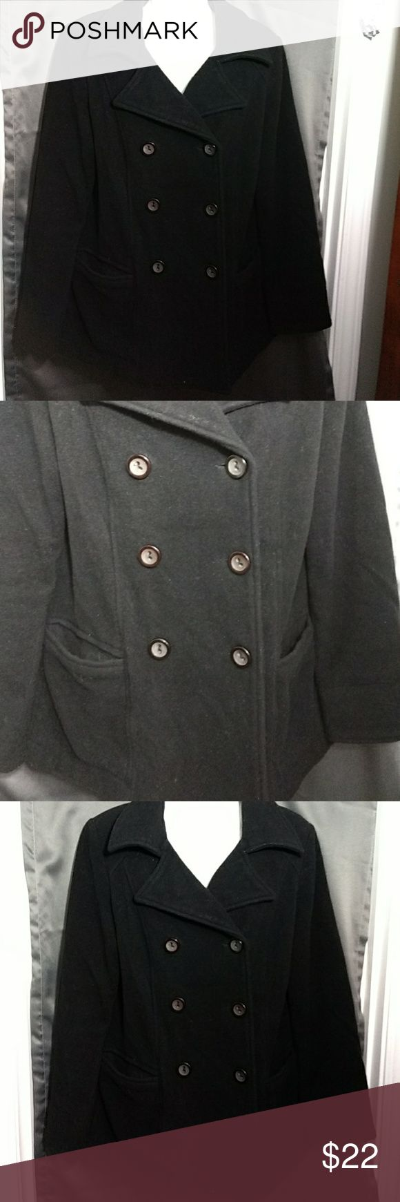 Old Navy Pea Coat Cute black pea coat with 6 buttons down center 3 on each side of chest. 2 buttons on cuffs 4 buttons on decorative belt, on back of coat. Very warm for the winter. Matches everything. Size medium. Old Navy Jackets & Coats Pea Coats