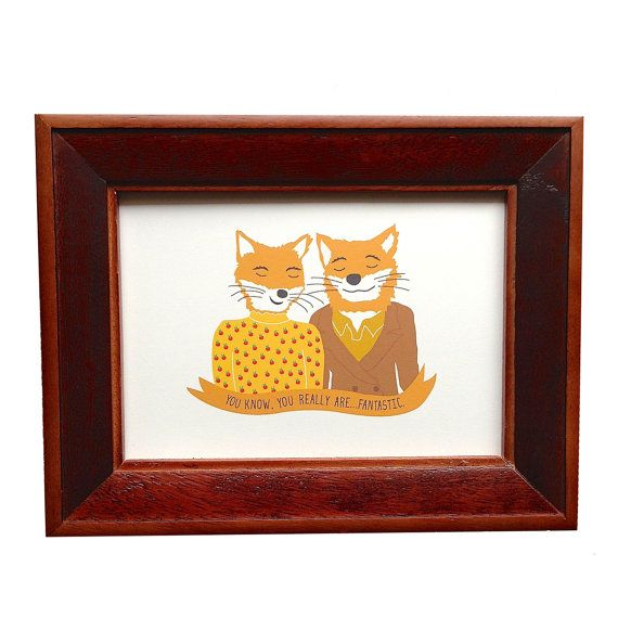 Fantastic Mr Fox, Wes Anderson print, Mr. and Mrs. Fox print on Etsy, $10.00