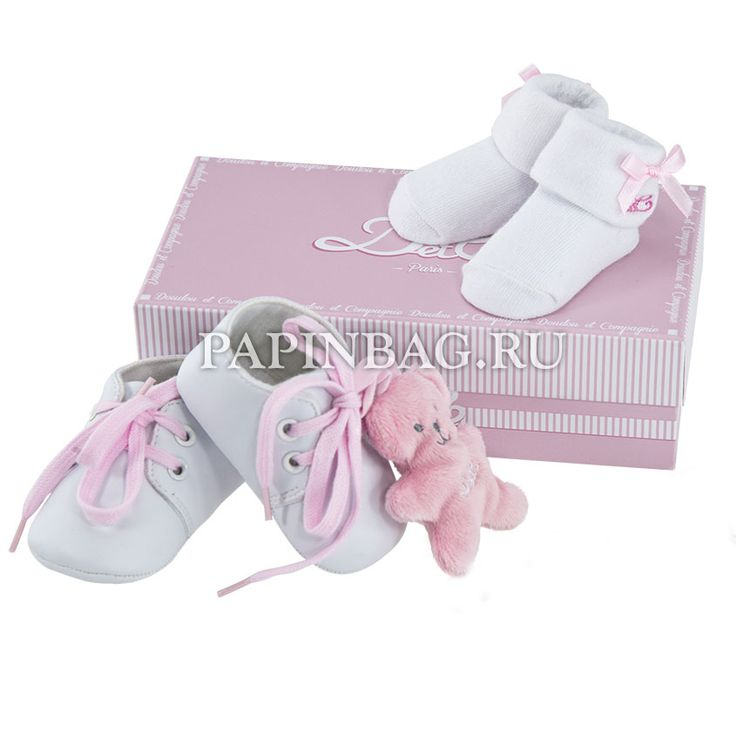"""Набор подарочный для малыша """"Mon premier"""" (носочки и башмачки) розовый мишка Нежный, трогательный подарочный набор с башмачками, носочками и маленькой мягкой игрушкой """"Медвежонок"""". Чудесный подарок на рождение девочки, Крестины и просто по случаю. http://papinbag.ru/?m=5418"""