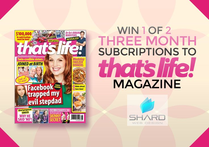Enter to win: Win 1 of 2 magazine subscriptions. | http://www.dango.co.nz/s.php?u=LuzrmCM32692