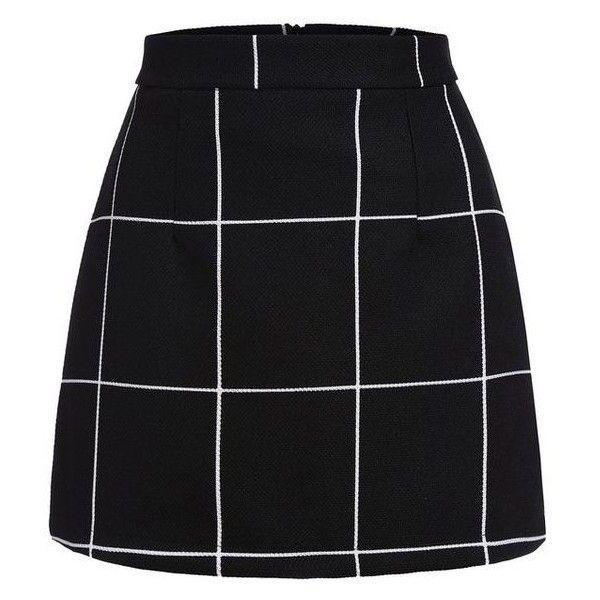 SheIn Women's Plaid Bodycon Mini Skirt ❤ liked on Polyvore featuring skirts, mini skirts, wide skirt, short skirts, body con skirt, tartan miniskirts and plaid miniskirts