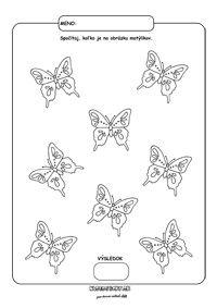 Počítame motýle - pracovný list