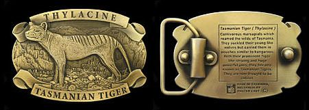 Tasmanian Tiger Belt Buckle - Custom made, brass belt buckle featuring a 3 dimensional Tasmanian Tiger with inscription about the Tasmanian Tiger on rear.