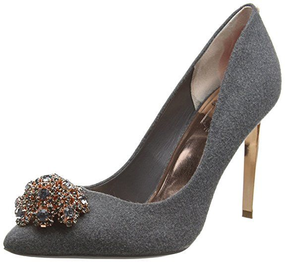 Ted Baker Women's Peetch Closed-Toe Pumps in grey with #RoseGold Hardware and #Crystals   #Fashion #Shoes #Heels   #Ad