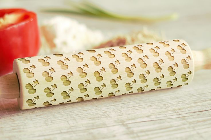 Wooden Engraved Rolling Pin Cherries Pattern Unique Personalized