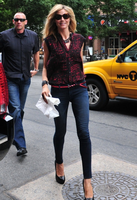 "Low Rise 11"" Denim Legging in Vox - as seen on Heidi Klum - from J Brand"