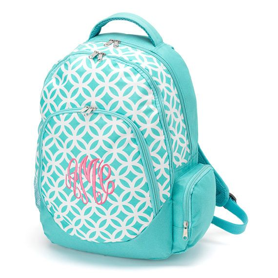 Monogrammed / Personalized Backpack Aqua Sadie by SweetTsFancies, $28.00