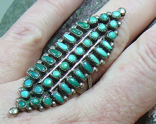 Huge Old Zuni Petit Point Natural Turquoise Long Sterling Silver Ring Sz 7