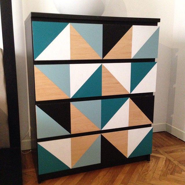 Geometric Ikea Malm dresser #ikea #ikeahack #ikeahacks #malm