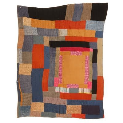 Gees Bend House top quilt with some great orange + gray color theme. Cassandra Ellis