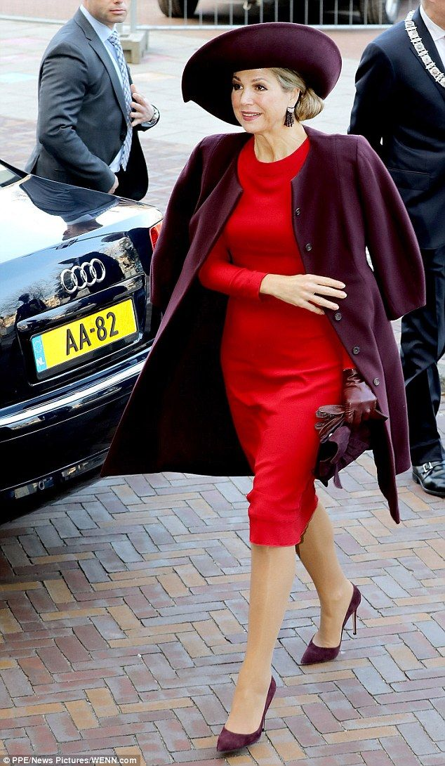 Slipping into a red pencil dress which fell just below her knees, Maxima made the most of ...