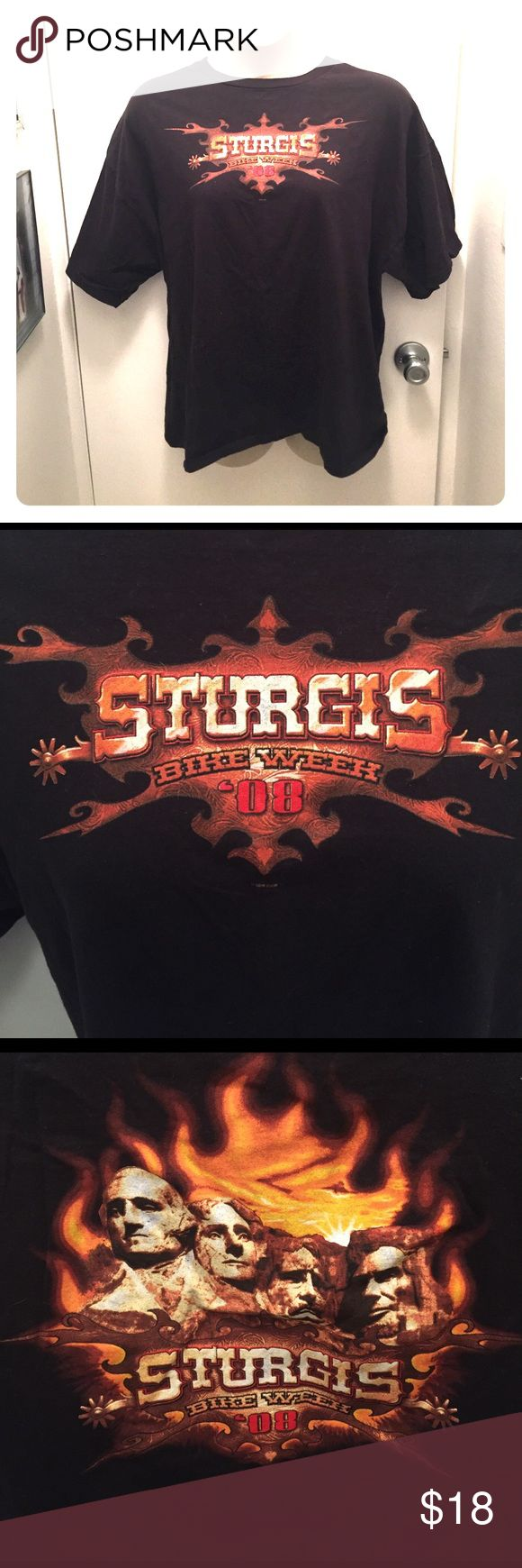 "Vintage Sturgis Tee Great condition, two tiny little spots where black dye has faded, see last photo for an example. Easily covered. Front and back graphic. 56"" chest. Genuine tee from Sturgis bike week 2008. (Apologies for the female mannequin, but it can be a unisex tee.) Delta Shirts Tees - Short Sleeve"