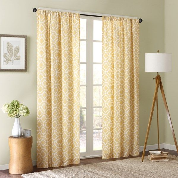 """Our Madison Park Delray Diamond Window Curtain revitalizes your home with modern style and color. A printed diamond motif is featured in a pop of yellow, for the perfect touch of fresh color to any room. Made from a cotton twill blend, this window panel has a soft textured feel, creating a natural allure that complements any room. Simply hang on rod pocket or back tabs for a simple finish; fits up to a 1.25"""" diameter rod."""