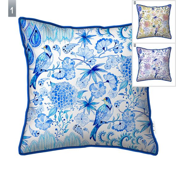 Dewdrops  Chinoiserie-Chic pillow cover by original by Milenska
