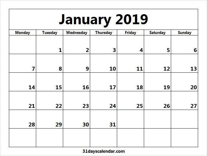 Day Calendar 2019 Available January 2019 Calendar Days | 31 days Calendar | January