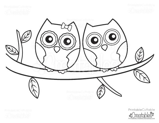owls couple free printable coloring page - Cute Owl Printable Coloring Pages