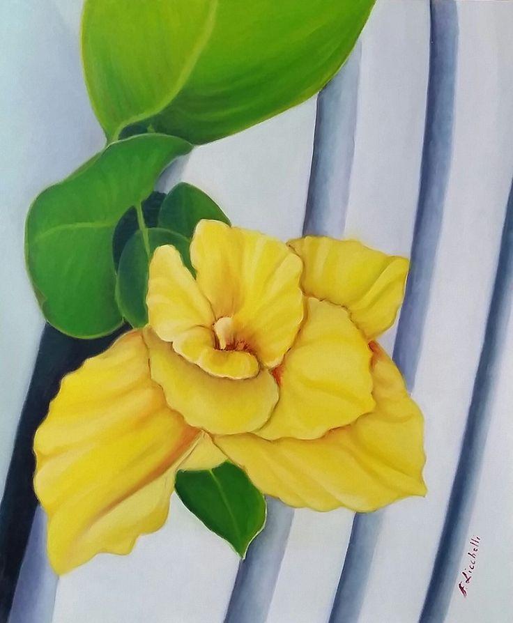 La fuga (fiore giallo) - dipinto originale - olio su tela - misure: 50 x 60 cm. - anno: 2015 #art #artwork #paintings