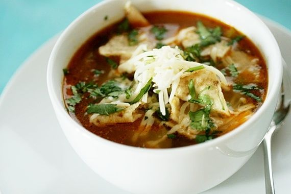 FAVORITE CHICKEN TORTILLA SOUP 6 cups chicken stock 2 cups cooked, shredded