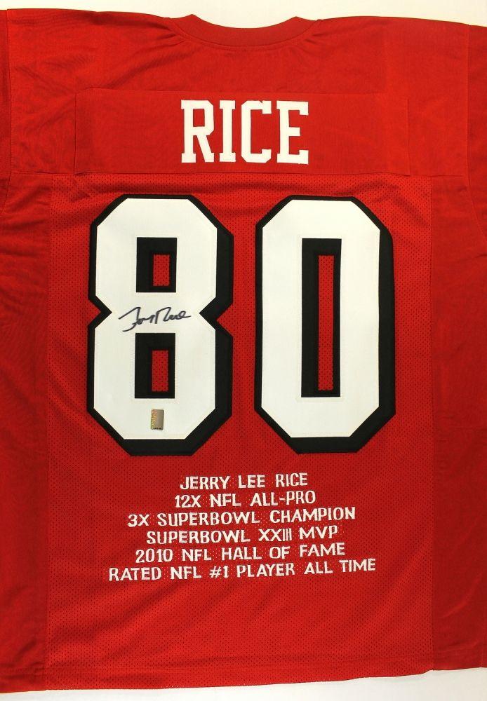 Jerry Rice Signed 49ers Stat Jersey (GTSM COA)