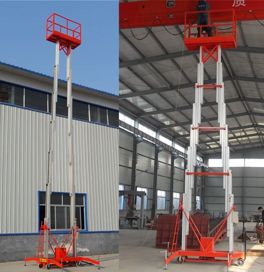 Double masts aluminium lift is mainly used to lift workers to higher places for It is characterized by manual move, portability and easy to work. Lift power: AC(110V, 220V, 380V, 415V), DC or diesel available. Both ground and platform can control the lift by hydraulic cylinder, easily operated. http://www.mornlift.com/trailing-lift/trailing-aluminum-lift.html