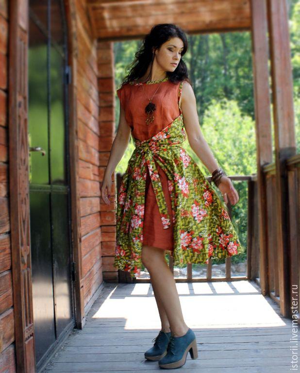 """Купить Платье-фартук """"Яркое лето"""" - платье, льняная одежда, платье из хлопка, солнцеклеш"""