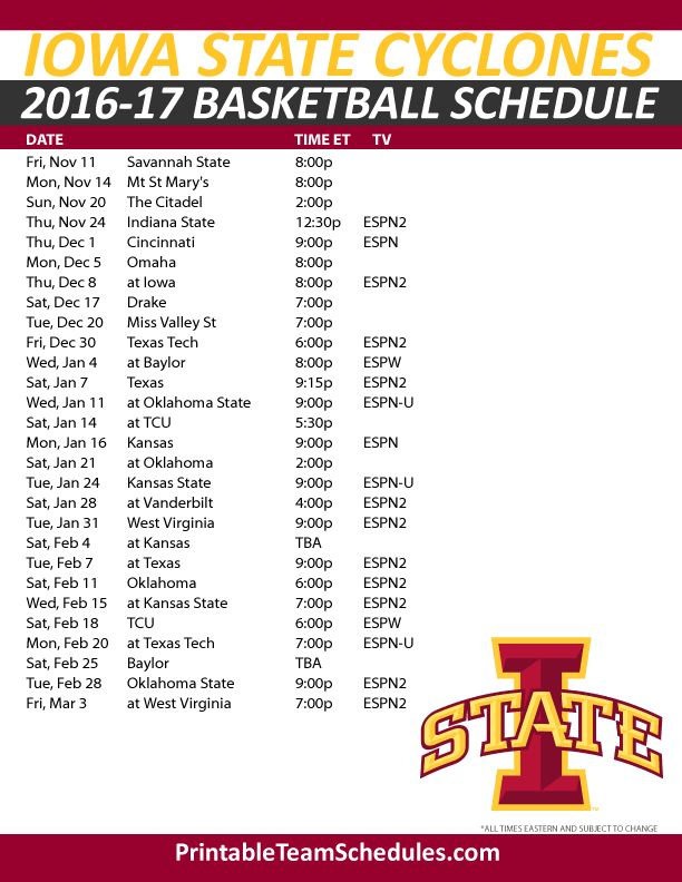 Iowa State Cyclones Basketball Schedule 2016-2017. Print Here - http://printableteamschedules.com/NCAA/iowastatecyclonesbasketball.php