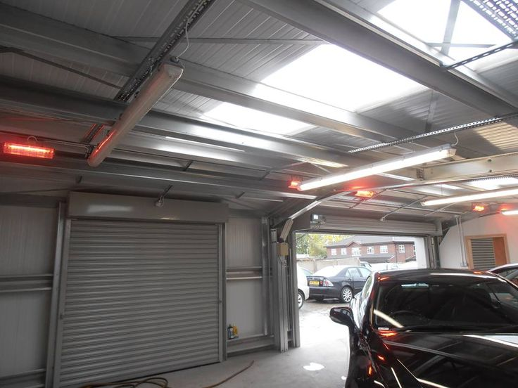 Many thanks to Paul Kirkland for sending us this picture of a recent halogen heater installation. Here we see a line of our HB-1500 workshop heaters providing instant heat in a car valeting shop. The heaters will be effective even with the roller shutter doors open.