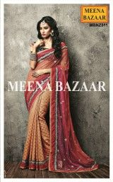 Orange & Magenta Zari work Georgette & Net half and half saree
