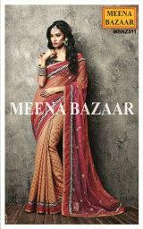 Orange & Magenta Zari work Georgette & Net half and half saree