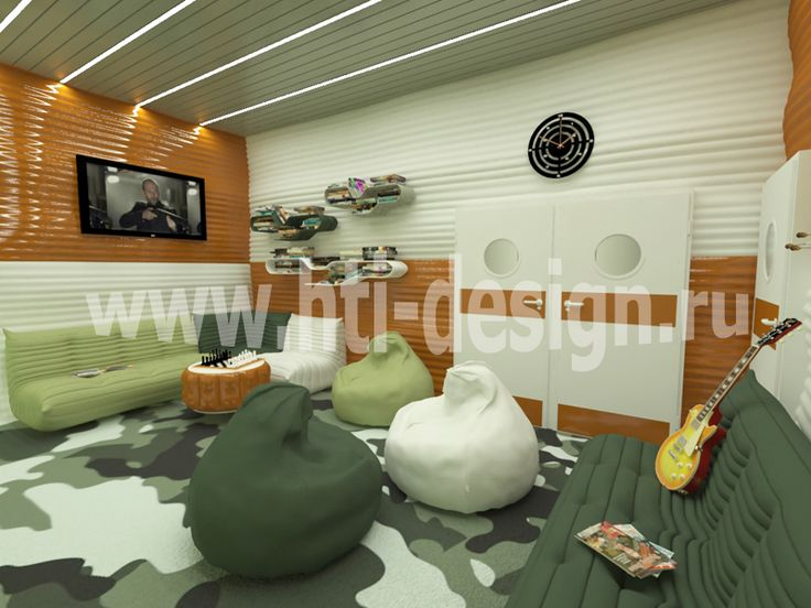 Youth center in military style - lounge room