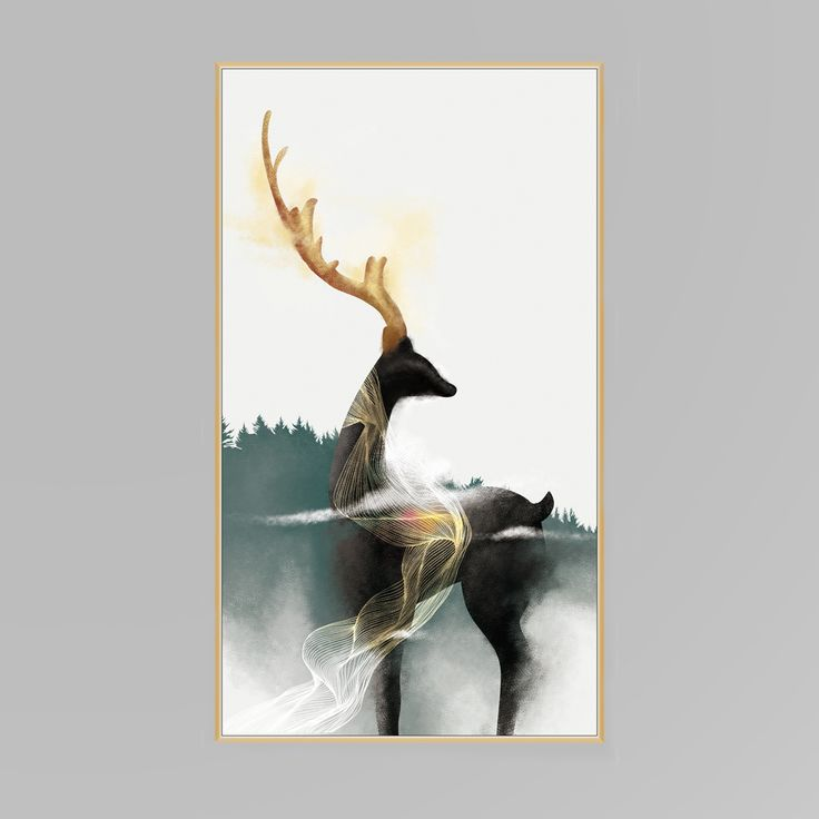Elegant Black Gold Deer Canvas Print