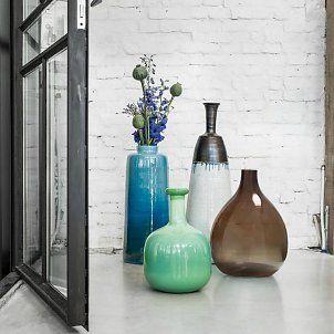HK-living Vloer vaas glas handgeblazen smoke bruin 39x39x57cm