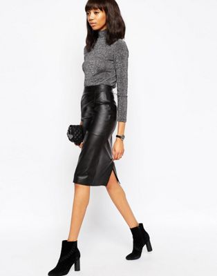 ASOS Midi Pencil Skirt in Leather