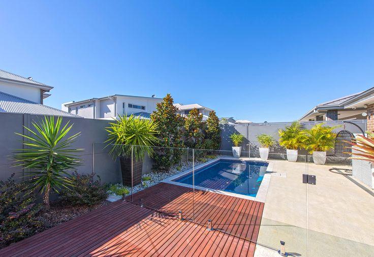 Backyard boundary pool wall