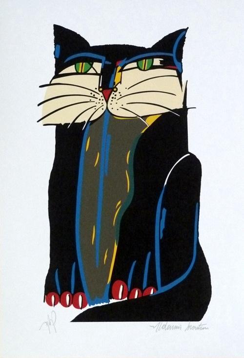 Gato Preto - Aldemir Martins (fundação) -  Tamanho 50 x 35 cm - Serigrafia