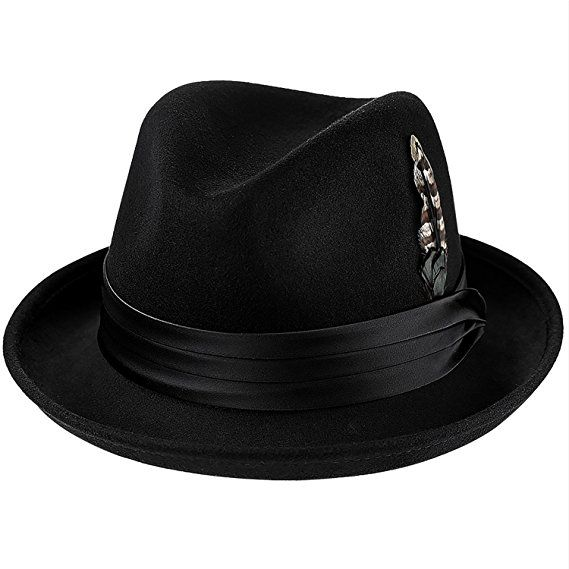a846a6fa34445d Deevoov Men Fedora Hats with Feather Australia Wool Trilby Hat ...