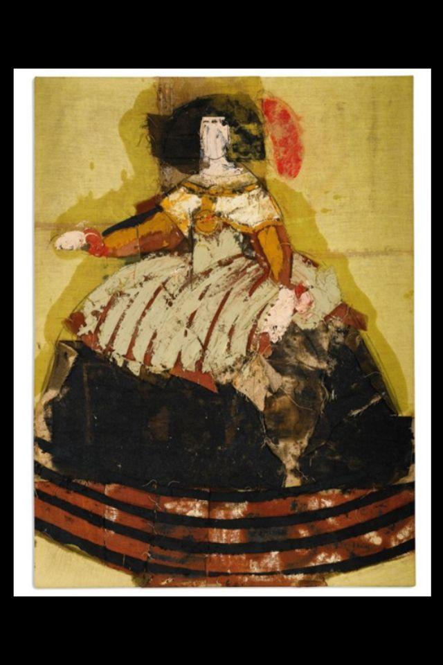 """Manolo Valdes - """"Reina Mariana"""", c. 1999 - Oil and burlap collage on burlap - 200 x 150 cm"""