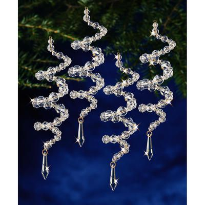 "Holiday Beaded Ornament Kit-Crystal Spirals 6.5"" Makes 8"