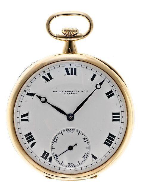 Patek Philippe, reloj de bolsillo lepine en oro  Ginebra, hacia 1920-1930. Firmado en la esfera y en el mecanismo y con marca de venta de Masriera y Carreras  Precio de salida: 1.000€  Precio de remate: 3.000€