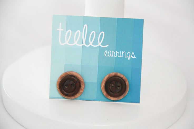 Two-Tone Brown Button Earrings - Teelee - A Bits & Bobs Brand