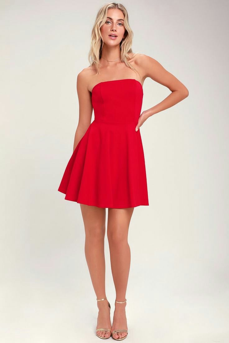 Latest Mini Skater Dress In Long Sleeves Fashionable Party Wear Collection In 2021 Strapless Casual Dress Red Cocktail Dress Dresses [ 1104 x 736 Pixel ]
